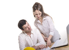 Young couple in the office Royalty Free Stock Images