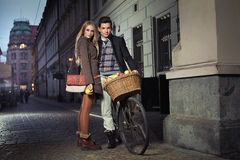 Young couple in the old town. Young attractive couple in the old town Royalty Free Stock Image