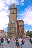 Young couple at the Old Town Square in Golden Prague Royalty Free Stock Image