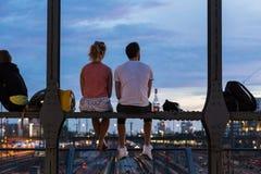 Young Couple On Romantic Date On Urban Railway Bridge, Munich, Germany. Stock Photos