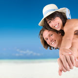 Young Couple On The Tropical Beach Royalty Free Stock Photography