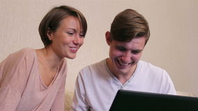 Young couple. Online shopping stock video