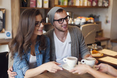 Young couple order coffee Stock Photos