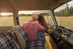 Young couple out on a road trip Stock Images