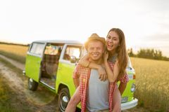 Young couple out on a road trip Stock Photo