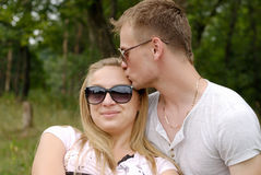 Young couple outdoor. Young couple on nature background Stock Photo