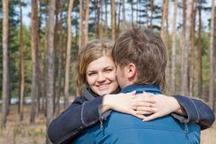 Young couple in outdoor Royalty Free Stock Images