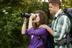 Young couple outdoors Royalty Free Stock Image