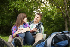 Young couple outdoors Royalty Free Stock Photography