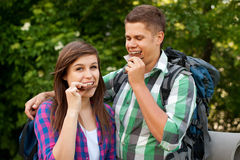 Young couple outdoors Stock Images