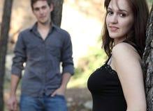 Young couple outdoors in a park Stock Photos