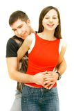 Young couple over white Stock Image