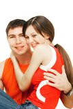 Young couple over white Royalty Free Stock Images