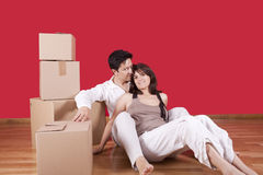 Young couple packing Stock Photography