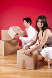 Young couple packing Stock Photo
