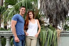 Young Couple Palm Tree Stock Photos