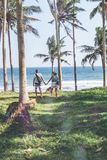 Young couple among palms on the tropical island of Bali. Indonesia Stock Photography