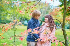 Young couple in Paris, enjoying autumn day Stock Images