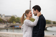 Young couple in Paris kissing Royalty Free Stock Photography