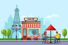 Young couple in Paris street cafe vector flat illustration. Man and woman drinking coffee on romantic dating. stock illustration