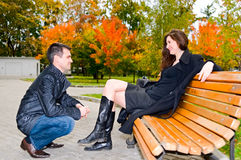 Young couple in the park Royalty Free Stock Photography