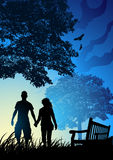 Young Couple in Park Stock Illustration