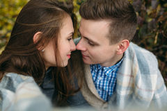 Young couple at the park in autumn season Stock Photography