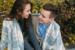 Young couple at the park in autumn season Royalty Free Stock Photo