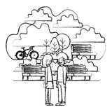 Young couple in the park with bicycle stock illustration