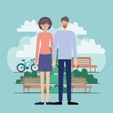 Young couple in the park with bikes. Vector illustration design royalty free illustration