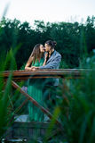 Young couple in park. stock photo