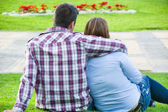 Young couple in park Royalty Free Stock Image