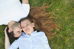 Young couple in the park in summer time Royalty Free Stock Images