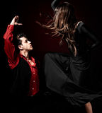 Young couple passion flamenco dancing on red ligh royalty free stock photos