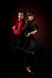 Young couple passion flamenco dancing on red light stock photo