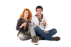 Young couple with pets Royalty Free Stock Photo