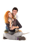 Young couple with pets Stock Image