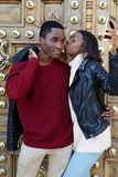 Young couple is photographed on a mobile phone stock image