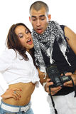 Young couple photographing Royalty Free Stock Photography