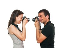 Young couple photographing themselves Stock Image