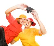 Young couple photographing themselves Stock Photos