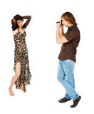 Young couple photographing on white Royalty Free Stock Photography