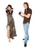 Young couple photographing on white Royalty Free Stock Images