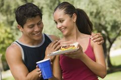 Young couple at picnic. Royalty Free Stock Photo
