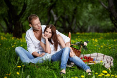 Young couple on picnic Stock Photos