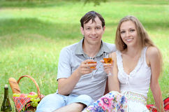 Young couple at picnic Stock Photography
