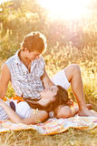 Young couple in the picnic Royalty Free Stock Images