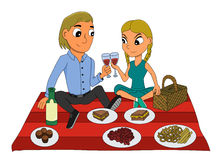 Young couple picnic cartoon royalty free illustration