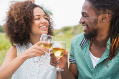 Young couple on a picnic drinking wine. On a sunny day Stock Photo