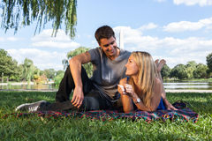 Young Couple on Picnic near Washington Monument Stock Image